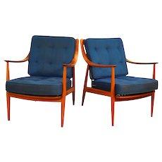 Pair Danish Mid Century Peter Hvidt & Orla Molgaard Nielsen For France & Daverkosen Lounge Chairs