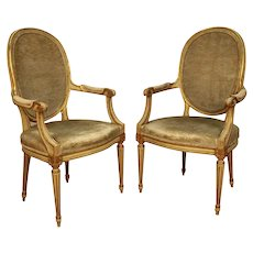 Pair John Widdicomb French Provincial Louis Xvi Style Arm Chairs