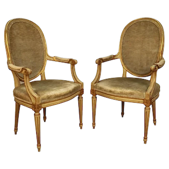 Pair John Widdicomb French Provincial Louis Xvi Style Arm Chairs