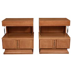 Pair Mid Century American of Martinsville Light Mahogany Two Tier Nightstands