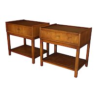 Pair Mid Century Modern Walnut Caning Nightstands