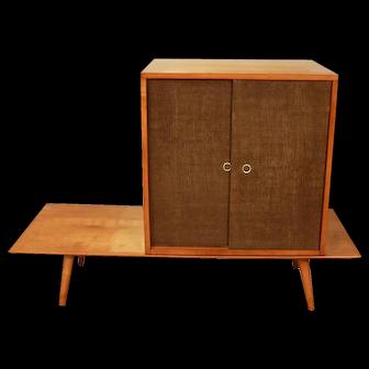 Paul McCobb Planner Group Bench Grass Cloth Cabinet Original By Winchendon Birch Wood