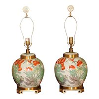 Pair Maitland Smith Brass & Porcelain Ginger Jar Lamps