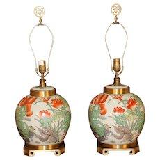 Pair Maitland Smith Brass & Porcelain Ginger Jar Lamps