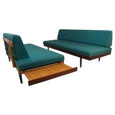 Pair Norwegian Mid Century Teak Daybed Sofas Pull Out Tables Edvard Kindt Larsen For Gustav Bahus