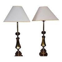 Stiffel brass vintage Midcentury modern Hollywood Regency brass table lamps