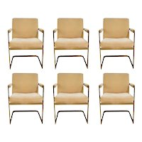 Six Mid Century Milo Baughman For Thayer Coggin Cantilever Brass Armchairs