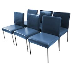 Six Modern leather Armless Side Dining Chairs