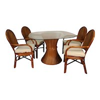 Sheaf of Wheat Rattan Dining Table and Chairs