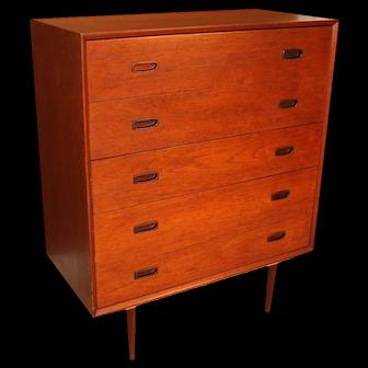 Teak Mid Century Modern Tall Dresser with Sculpted Handles