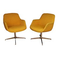 Yellow Gold Pair Mid Century Swivel Barrel Chairs Steelcase