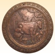 Antique Bronze Raised Relief Plaque Depicting Country Scene of Farmer Milking a Dairy Cow and Chickens Feeding in the Farm Yard, 19th Century