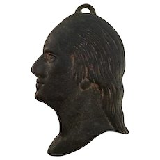Vintage Cast Iron Historical Silhouette of George Washington's Profile