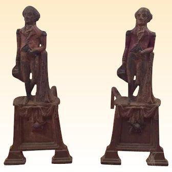 Antique Pair of Cast Iron Fireplace Andirons Depicting George Washington