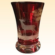 Charming Vintage Etched Bohemian Glass Beaker in Gorgeous Red Color from Paris!