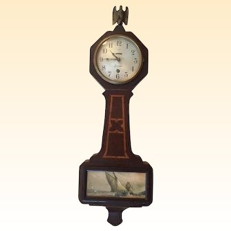 Vintage Sessions Banjo Wall Clock with Nautical Scene...made by the Sessions Clock Co. in Forrestville, CT