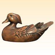 Jules Bouillett Wood Duck Decoy, Signed