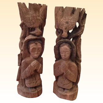 "Rustic Pair of Hand Carved Wooden Sculptures of Both a Man and a Woman with Dove, Each Carved on Backside of Base ""A Prophete"""