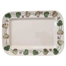 Charming and Rare Vintage Hartstone Pottery Platter, Geranium Leaves Design, Signed and Stamped, Handcrafted in USA