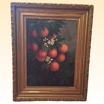 Charming Oil on Canvas Painting of Oranges, Orange Blossoms and Greenery!