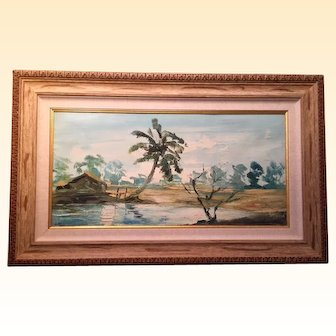 Gorgeous Oil of Canvas Painting of Tropical Scene...Lovely Soft Colors!  Signed with Artist's Initials.