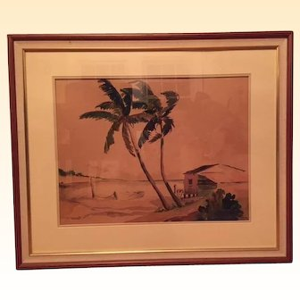 Original watercolor painting of a Florida scene signed by artist Crawford Parker (1902-1982), professionally framed.