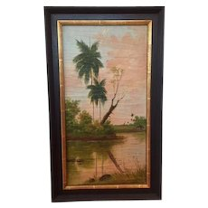 Antique landscape oil painting of a tropical scene with palm trees and a small cabin