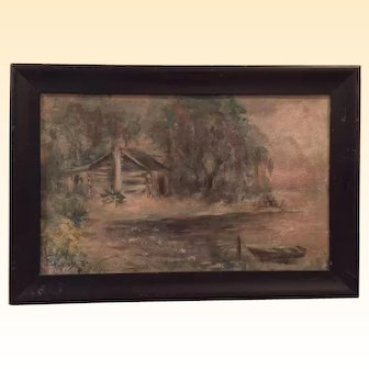 "Florida landscape ""oil on board"" by artist Catherine Stockwell, 20th C, image of log cabin by lake in Florida swamp, 10"" x 16"" excluding frame"