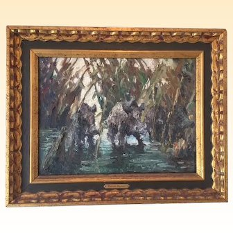 Oil Painting on Canvas of Warthogs in a Marsh signed by Russian French artist Volodia Lazarev, shown at the Society of the Four Arts in Palm Beach, Florida