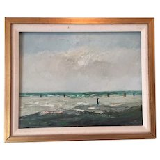 Lovely oil on canvas of beach scene with pedestrians...a charming painting, appears to be signed by ORLY in red