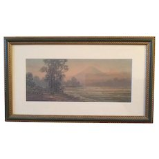Lovely GOYO watercolor painting of a mountain landscape, signed GOYO, beautifully framed at J. Pocker & Son in New York City