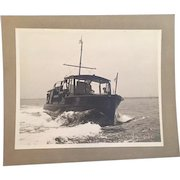 Authentic Black and White Nautical Photo of Charming Vintage Power Boat Underway with Crew and Woman Passenger