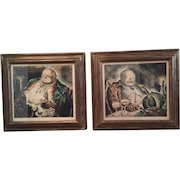 Pair of Aquatint Engravings of a Gourmand...Beautifully Framed!  Perfect Decor for a Wine Cellar, Country French Kitchen or Bar Area...