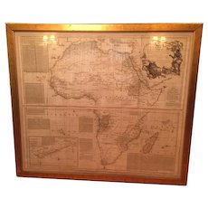 Magnificent Framed Map of Africa, from map by French mapmaker Jean Baptiste Bourguignon d'Anville (1697-1782), English edition by S. Boulton