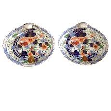 Pair of Antique English Coalport Imari Porcelain Shell-Shaped Plates