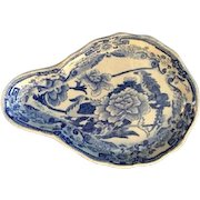 Antique Mason's Ironstone Transferware Blue and White Spoon-Shaped Dish, Circa 1815-1830