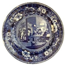 """Antique English """"Clews"""" Blue Staffordshire Plate, of the """"Dr. Syntax"""" Literary Series Titled """"Doctor Syntax Returns From His Tour"""" - Early 19th Century, Excellent Condition!"""