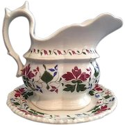"""Charming Antique Staffordshire """"Creamware"""" Cream Pitcher on Toddy Plate Stand, Trailing Foliated Brushstroke Leaf Design in Crimson Red, Blue, Green"""
