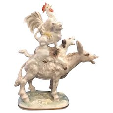 """Charming Hutschenreuther Selb Porcelain Figurine Titled """"The Town Musicians of Bremen"""" - Depicting Adorable Donkey, Dog, Cat and Rooster Singing!"""