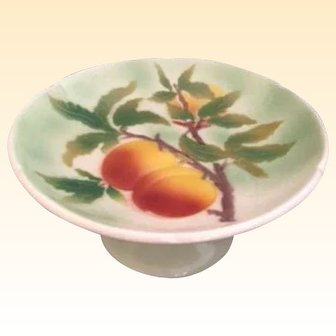 Charming Vintage Faience Pottery Fruit Stand by St. Clement France...lovely images of peaches in glorious colors!