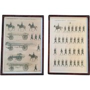 """Pair of """"Jean Auge"""" Military Prints Depicting """"L'Armee Francaise D'Aout 1914"""" in Burl Walnut Frames"""
