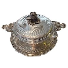 """Elegant French Silver Tureen with Platter or """"Ecuelle on Stand"""", Boin Taburet a Paris, circa 1910"""