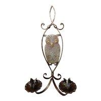Hammered Iron Candle Sconce Owl Goberg C.1910
