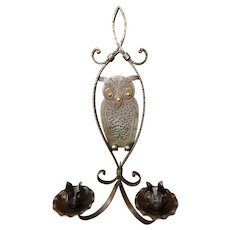 Hammered Iron Candle Sconce Owl Goberg C.1910