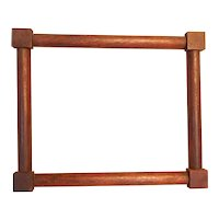 Antique Small Corner Block Walnut Picture Frame