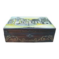 Antique Victorian Stenciled Painted Sewing Box Unusual Islamic Scene