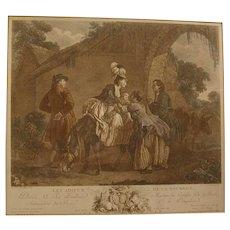 C.1800 French Mezzotint Print Robert de Launay Les Adieux De La Nourrice