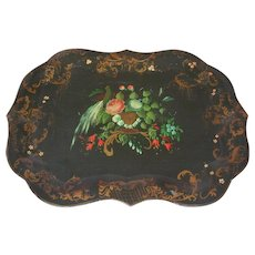 "19th C. Tole Tray 29"" Hand Painted Bird Roses Urn Toleware"