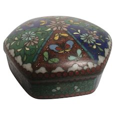 Japanese Cloisonne Enameled Goldstone Small Trinket Box  Antique