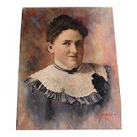 Miniature Oil Painting Portrait Signed Identified Grace Almy Ellis Young Woman
